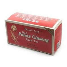 Beauti-leaf Red Panax Ginseng Root Tea 20 Tea Bags by beauti leaf. $5.00. medicinal teas. this tea can alleviate many symptoms of common aliments and lessen fatigue. Red panax ginseng root tea is a traditional ginseng beverage. But it has a big difference and is ten times stronger than instant ginseng tea by using 100% pure, panax ginseng in each tea bag. No sugar and no preservatives.