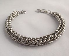 Mens Steel Chainmaille Bracelet, Polished Stainless Steel Rope style Bracelet, Full Persian chainmail, Mens Jewellery, Gift for him, Men, by JCLeecollection on Etsy