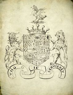 Detailed quarterings of the arms of Sir Henry Herbert, 2nd Earl of Pembroke, K.G. (d. 1601) tricked in a 1620 manuscript by Ralph Brooke, York Herald.