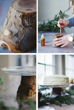 DIY tree trunk cake stand