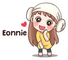 A Korean term that means older/big sister that females call a female relative or a older girl they admire or respect. Anime Korea, Korean Anime, Korean Phrases, Korean Words, Pop Stickers, Kawaii Stickers, Printable Stickers, Chibi Kawaii, Anime Chibi