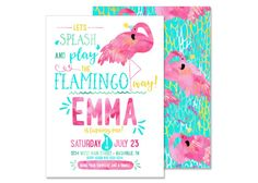 Hey, I found this really awesome Etsy listing at https://www.etsy.com/listing/279721886/flamingo-pool-party-birthday-invitation