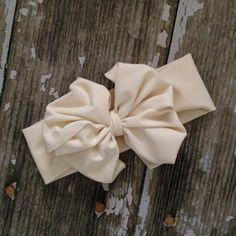 Ivory Messy Bow Head Wrap by rubyblueinc on Etsy