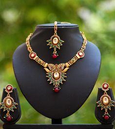 Designer Pearl Kundan & Polki Necklace Set – India1001.com