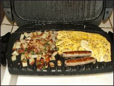 Grilled potoates, eggs and sausage breakfast with George Foreman grill - bend all the rules and cook a complete breakfast of potatoes O'Brien, scrambled eggs, and link sausage on your GFG