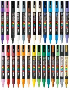 Uni Posca Assorted Colour Pack Colour Paint Marker Pen Fine Bullet Nib Writes On Any Surface Glass Metal Wood Plastic Fabric Of Each Colour - 27 Pens) Posca Marker, Paint Marker Pen, Paint Pens On Wood, Glass Paint Markers, Fabric Paint Pens, Marker Art, Uni Posca, Posca Art, Wood Plastic