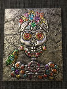 Repoussé Day of the Dead Embossed Metal Wall Art by MetalBiom