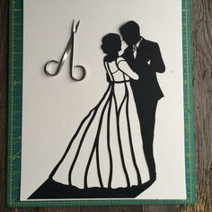 If you are looking for a unique #paper first #anniversary gift, look no further! Gift the happy couple with this #custom silhouette wall #art so they can relive and always remember that special day when two became one. The #personalized silhouette art