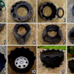 Old tire planter! My grandpa used to make these for my grandma, Reuse recycle! Más