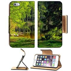 MSD Premium Apple iPhone 6 Plus iPhone 6S Plus Flip Pu Leather Wallet Case iPhone6 Plus IMAGE ID 29304108 HDR landscape with pond forest and trees -- You can find more details by visiting the image link.