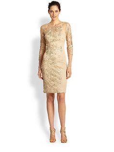 David Meister - Embroidered Illusion Cocktail Dress - Saks.com