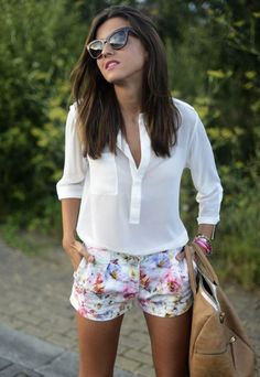 White Button Down With Floral Shorts 2017 Street Style