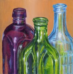 Acrylic Still Life Painting of Bottles - Original Small Painting Wall Art in Purple, Green, Blue