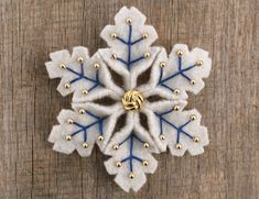 Snowflake Felt Pin Blue Gold
