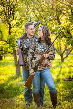 Country engagement pictures - duck hunting - hunters - camo - shotguns