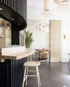 monochrome and natural wood - @restaurant_happolati in Oslo designed by incredibly talented @anderssenvoll