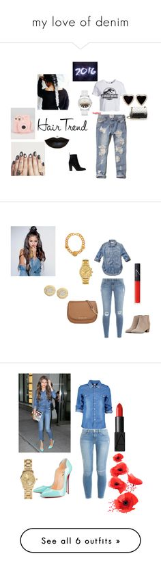 """my love of denim"" by fyichristine on Polyvore featuring Abercrombie & Fitch, Fujifilm, New Look, Moschino, Zara, Versace, Frame, NARS Cosmetics, Golden Goose and Lacoste"