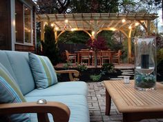 i like the pergola on raised patio with lights and crossbeams but with arched supports! Outdoor Areas, Outdoor Rooms, Outdoor Dining, Outdoor Structures, Outdoor Decor, Outdoor Kitchens, Patio Dining, Outdoor Patios, Outdoor Lighting
