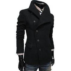 TheLees Mens Unbalance High Neck Slim PEA Coat Jacket: Clothing