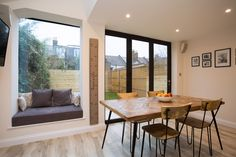 Nice way of squeezing a sofa/seating area into a smaller kitchen/diner extension Kitchen Diner Extension, Open Plan Kitchen Dining, Open Plan Kitchen Dining Living, Kitchen Diner Decor, Kitchen Design, House Extension Design, Kitchen Sofa, Seating Area, New Homes