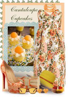 """Cantaloupe Cupcakes"" by kathy-martenson-sanko ❤ liked on Polyvore"