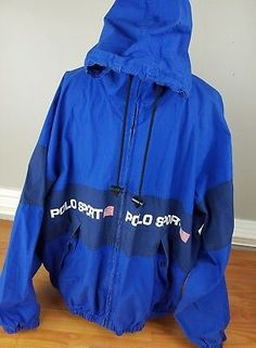 2d59cf596fa Vintage 90s Polo Sport Blue Jacket Big Spellout Color Block Size XL RARE