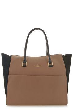 Paul's Boutique Leather Brooke bag in Taupe / Black. Online now || www.paulsboutique.com #paulsboutique - 70's style.