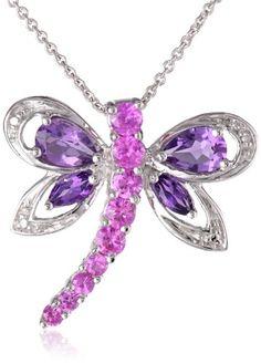"10k Yellow Gold Amethyst and Mystic Topaz Diamond Dragonfly Pendant Necklace, 18"" | Amazon.com"