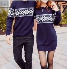 Not so much into the matching couples theme here but i do like the navy fair isle sweater dress. Matching Christmas Jumpers, Couples Christmas Sweaters, Matching Christmas Outfits, Christmas Couple, Christmas Sweater Dress, Christmas Shirts, Xmas, Matching Couple Outfits, Matching Couples
