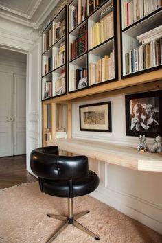 Alix Thomsen and Blanche 6 years - New Deko Sites Home Living, Living Spaces, Bibliotheque Design, Etagere Design, Bookshelf Desk, Amazing Decor, Wood Desk, Wood Wood, Interior Inspiration