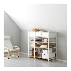 IKEA - ELVARLI, 2 sections, Il est possible d'adapter ou de compléter cette solution de rangement ouvert selon les goûts et les besoins.Les montants bas sont parfaits pour les plafonds en sous-pente.Il est possible de combiner des rangements ouverts, comme des étagères, et des rangements fermés, comme des tiroirs.Les tablettes réglables vous aident à personnaliser l'espace de rangement en fonction de vos besoins.Tiroirs avec amortisseur intégré pour une fermeture lente, en ...