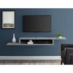 The Martin Furniture Asymmetrical Floating Wall Mounted TV Console, Stone Gray, 72 , online shopping - Nanakoshopping Wall Mounted Tv Console, Floating Tv Console, Floating Tv Stand, Floating Wall, Mounted Tv Walls, Mounted Tv Decor, Tv Cabinet Design, Tv Wall Design, Tv Wanddekor