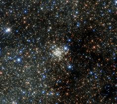 Arches Cluster. IR image taken by the Hubble Space Telescope. The cluster is the most crowded place in the Milky Way. A sphere 4.4 light years in radius would hold the Sun & our nearest neighbor α Centauri. In the Arches Cluster a region that size would hold over 100,000 stars. (Credit: ESA, NASA)