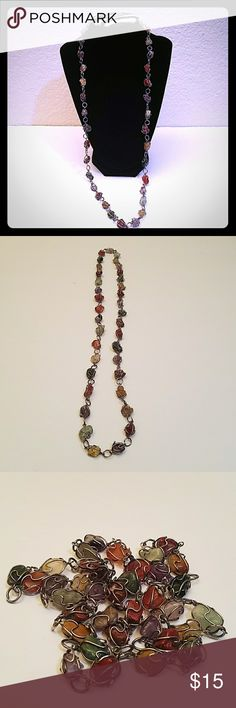 "Beautiful Vintage polished stone necklace boho Good condition with normal age wear Measures about 15"" long handmade Jewelry Necklaces"