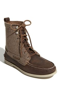 Free shipping and returns on Sperry Top-Sider® 'Authentic Original 7-Eye' Boot at Nordstrom.com. Classic boat-shoe styling defines a lace-up boot featuring hand-sewn moccasin construction. Panels of tonal wool flannel update the look.