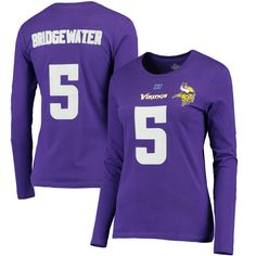 Teddy Bridgewater Minnesota Vikings Majestic Women's Plus Size Her Catch Player Name & Number Long Sleeve T-Shirt - Purple