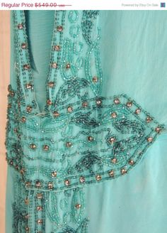 1DAY50%OFFSALE Vintage  Authentic 1920s Aqua Blue by GlamourZoya