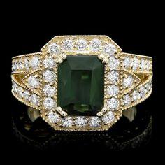 14k Gold 3.00ct Tourmaline 1.20ct Diamond Ring : Lot 93C