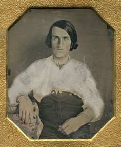 ANTIQUE DAGUERREOTYPE BLUE EYE YOUNG MAN UNUSUAL UNBUTTONED PANT POSE 1845 PHOTO