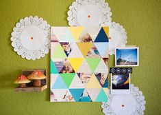 Supplies Needed: Poster board (cut slightly larger than the frame you wish to use), glue or double-sided tape, scissors, triangle template to trace (mine was 2.5 inches on each side of the triangle using a ruler), paint swatches in colors you love, vintage book pages, and a few of your favorite photos.