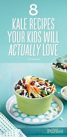 Soups, stews, salads and pasta—you'll find kale recipes for diners big and small. Easy Kale Recipes, Quick Pasta Recipes, Yummy Chicken Recipes, Yum Yum Chicken, Healthy Breakfast Recipes, Quick Easy Meals, Easy Dinner Recipes, Baby Food Recipes, Soup Recipes