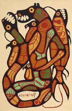 Man Changing into Thunderbird Norval Morrisseau Native American Artists, Canadian Artists, Native Canadian, Claudia Tremblay, South American Art, Aboriginal Painting, Woodland Art, Inuit Art, Indigenous Art
