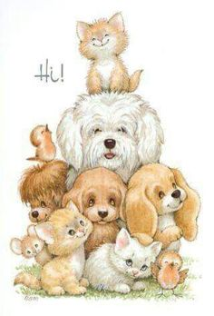 All of the baby animals at the Cottage are eagerly awaiting the arrival of the new grand-darling. Illustration Mignonne, Cute Illustration, Animals And Pets, Baby Animals, Cute Animals, Cute Images, Cute Pictures, Animal Drawings, Cute Drawings