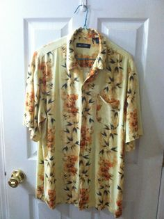 Puritan Mens Yellow Hawaiian Button Front Short Sleeve Rayon Shirt Medium EUC #Puritan #Hawaiian