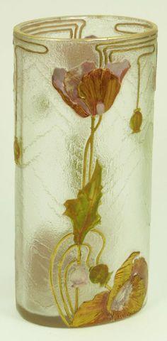 101: MONT JOYE ENAMELED CAMEO ART GLASS VASE