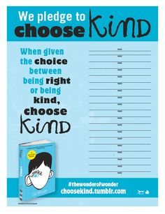 Wonder Choose Kind Poster with activities