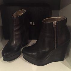 """Ted Baker London wedge bootie Excellent condition. Worn at the most three times. 4 1/2 inch heel. Zipper sides. About a 1"""" platform. Retail was $300+. Very light scuffs hardly noticeable to the naked eye! Stating for accuracy reasons only. Otherwise excellent Ted Baker Shoes Wedges"""