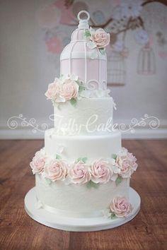 Pale bird cage cake