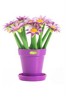 Pot avec 15 stylos<BR>Violet et vert