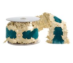 """Katherine's Collection Celestial Fairy Christmas Collection Two 4"""" x 5 yds Turquoise Velvet Jeweled Ribbon Rolls Free Ship"""